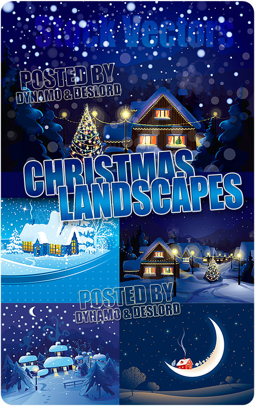 Christmas landscapes - Stock Vectors
