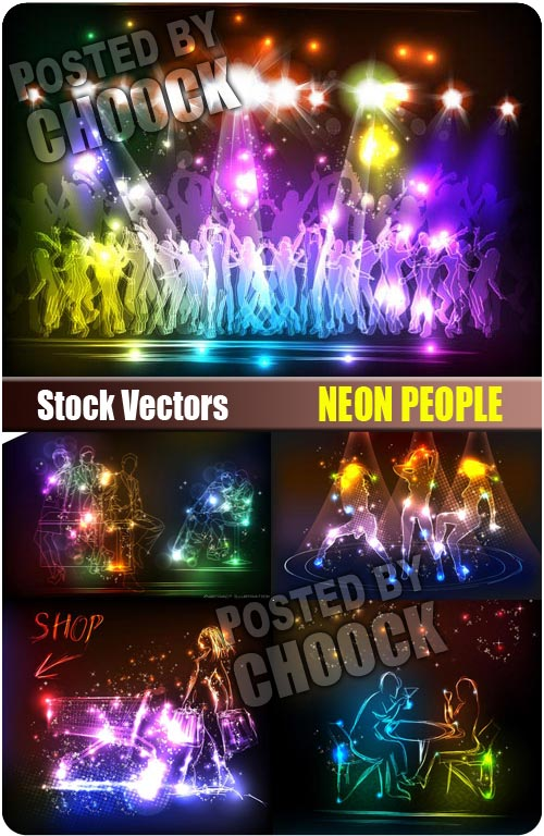 Neon people - Stock Vector