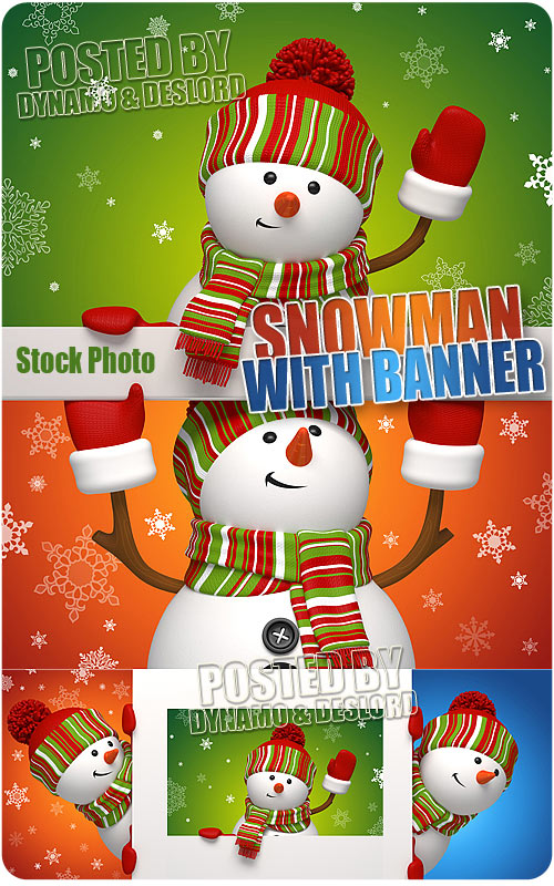 Snowman with banner - UHQ Stock Photo