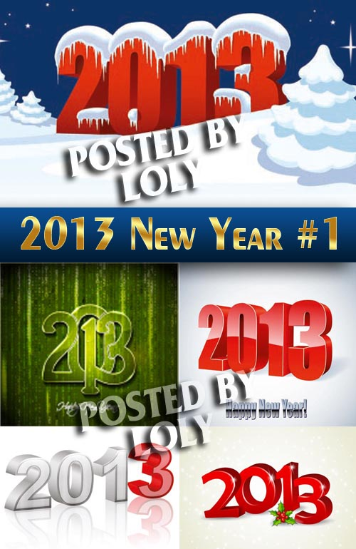 2013 New Year # 1 - Stock Vector