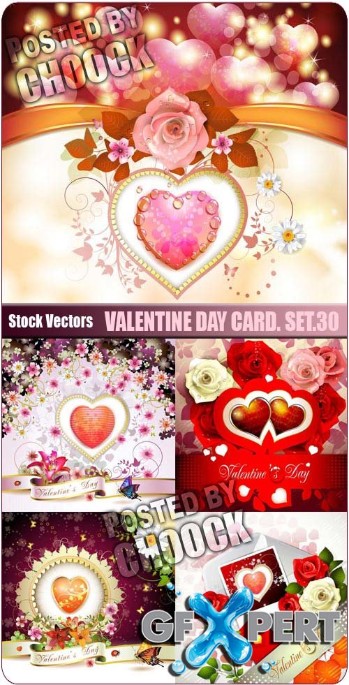 Valentine day card. Set.30 - Stock Vector