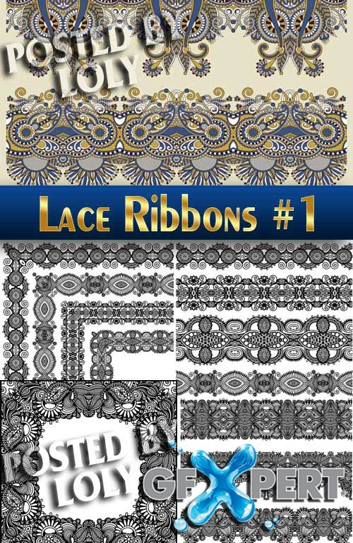 Lace ribbons #1 - Stock Vector