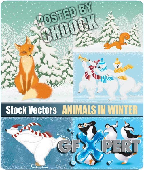 Animals in winter - Stock Vector