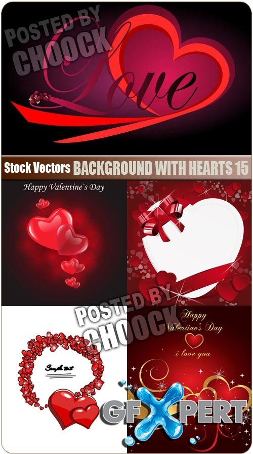 Background with hearts 15 - Stock Vector