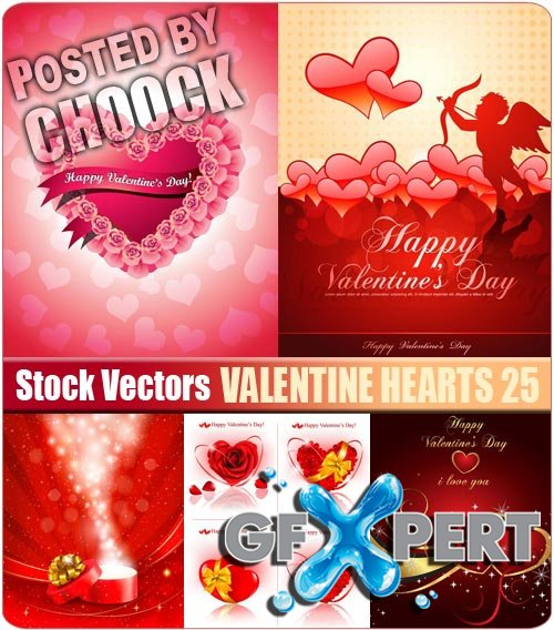 Valentine hearts 25 - Stock Vector