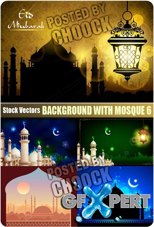 Background with mosque 6 - Stock Vector