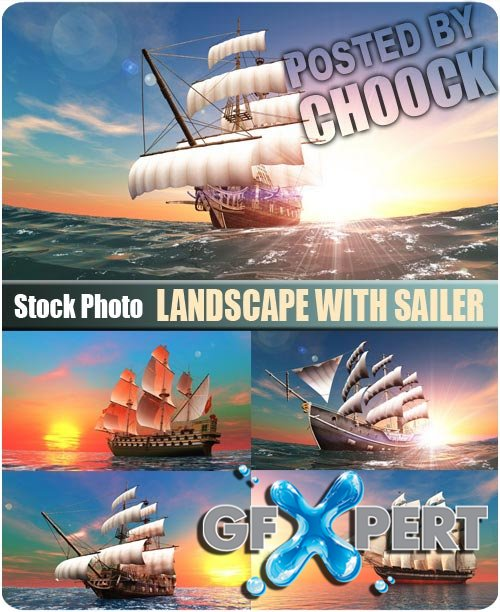 Landscape with sailer - Stock Photo
