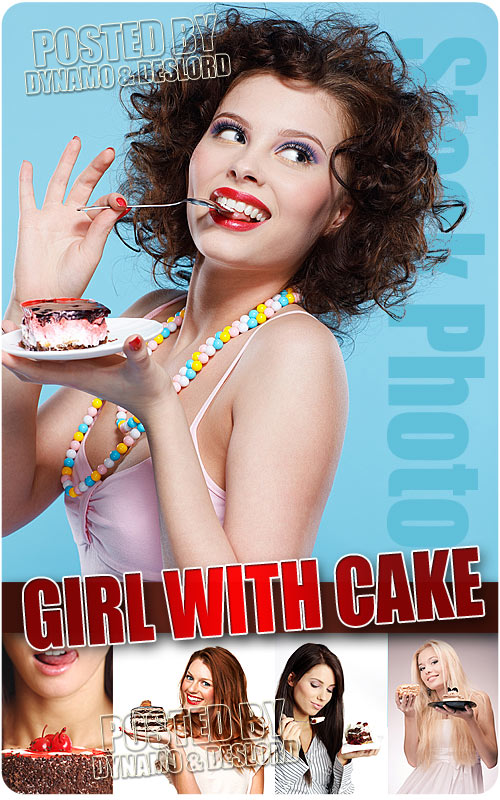 Girl with cake - UHQ Stock Photo