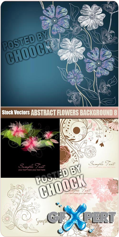 Abstract flowers background 8 - Stock Vector