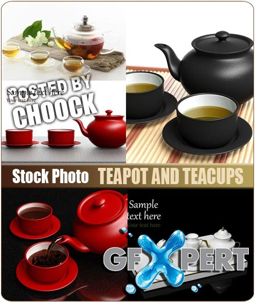 Teapot and teacups - Stock Photo