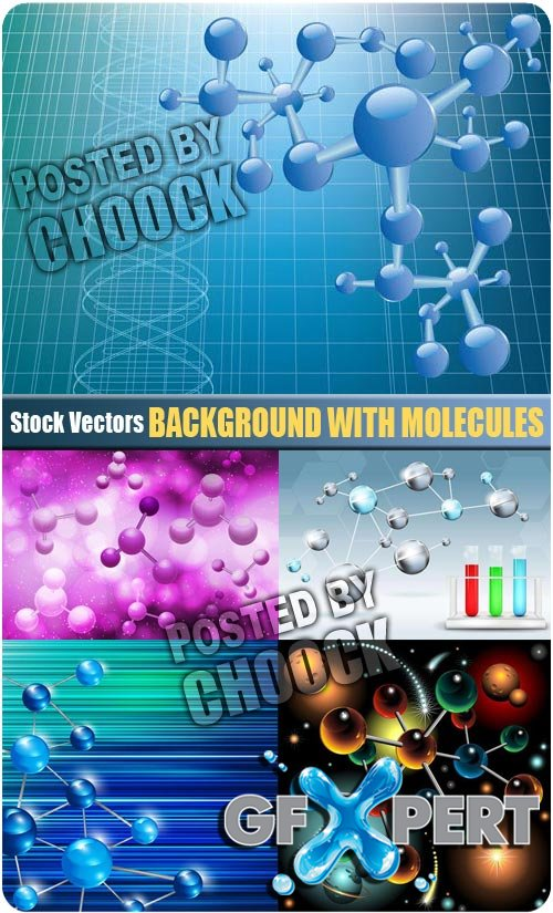 Background with molecules - Stock Vector