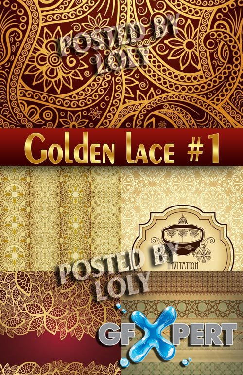Golden lace #1 - Stock Vector