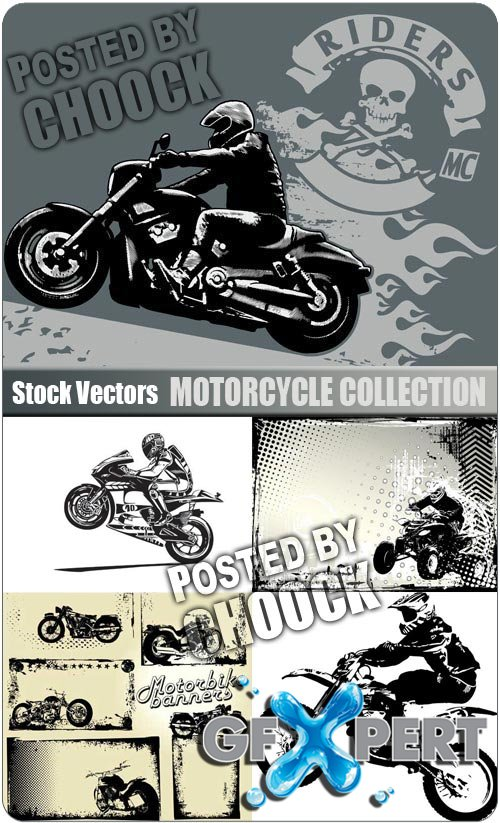 Motorcycle collection - Stock Vector