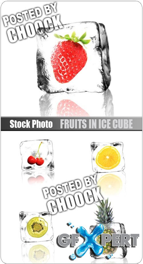 Fruits in ice cube - Stock Photo