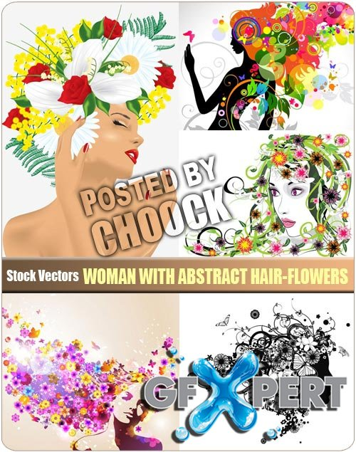 Woman with abstract hair-flowers - Stock Vector
