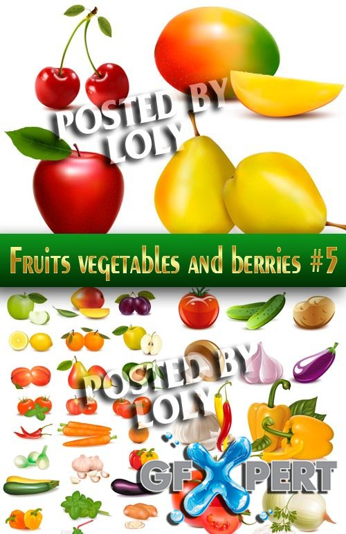 Fruits, vegetables and berries #5 - Stock Vector