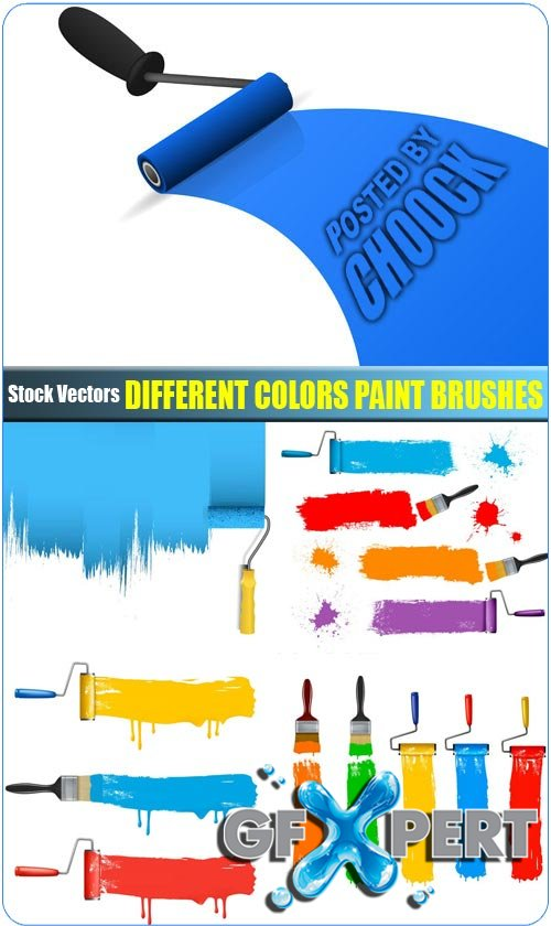 Different colors paint brushes - Stock Vector