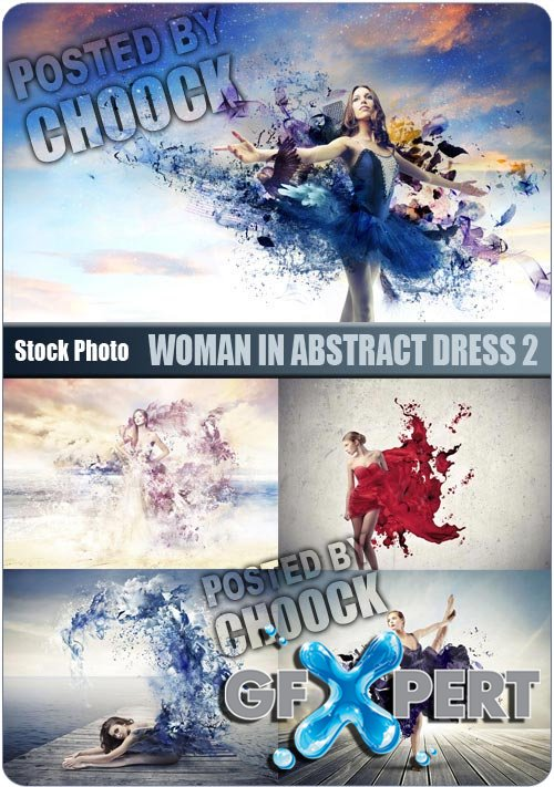 Woman in abstract dress 2 - Stock Photo