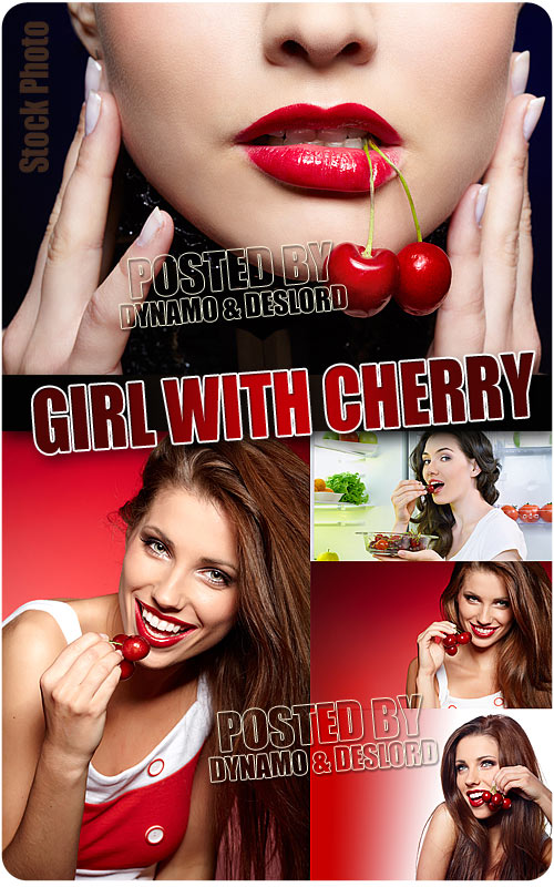 Girl with cherry - UHQ Stock Photo
