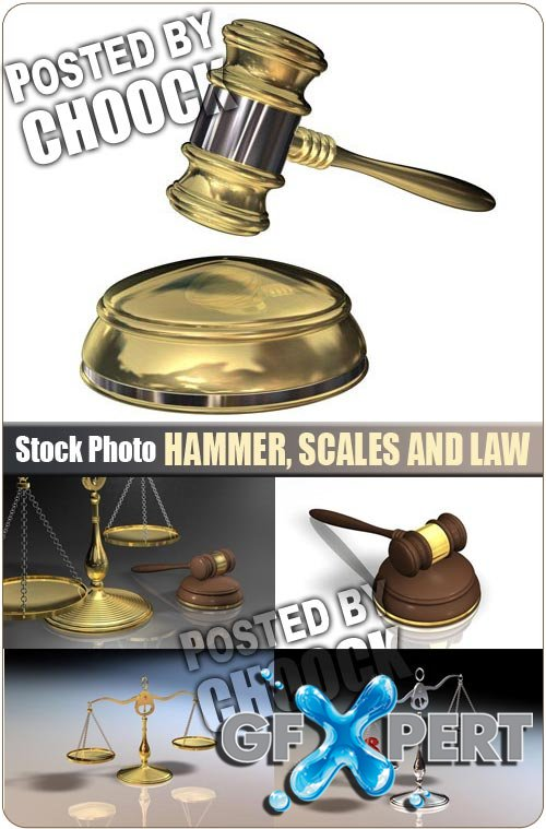 Hammer, Scales and Law - Stock Photo