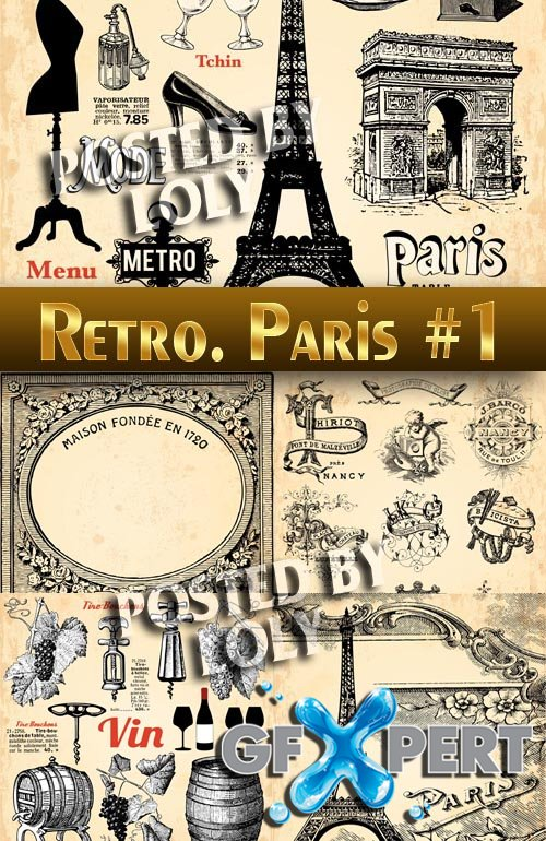 Retro. Paris #1 - Stock Vector
