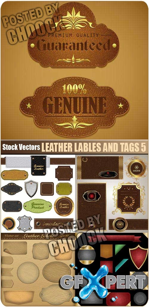 Leather lables and tags 5 - Stock Vector
