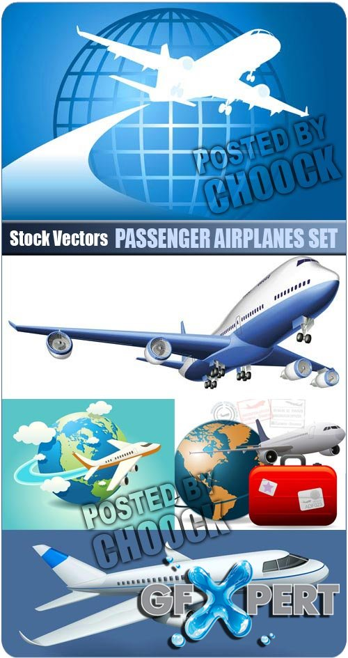 Passenger airplanes set - Stock Vector