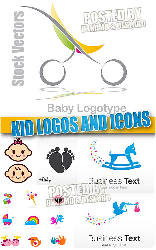 Kid logos and icons - Stock Vectors