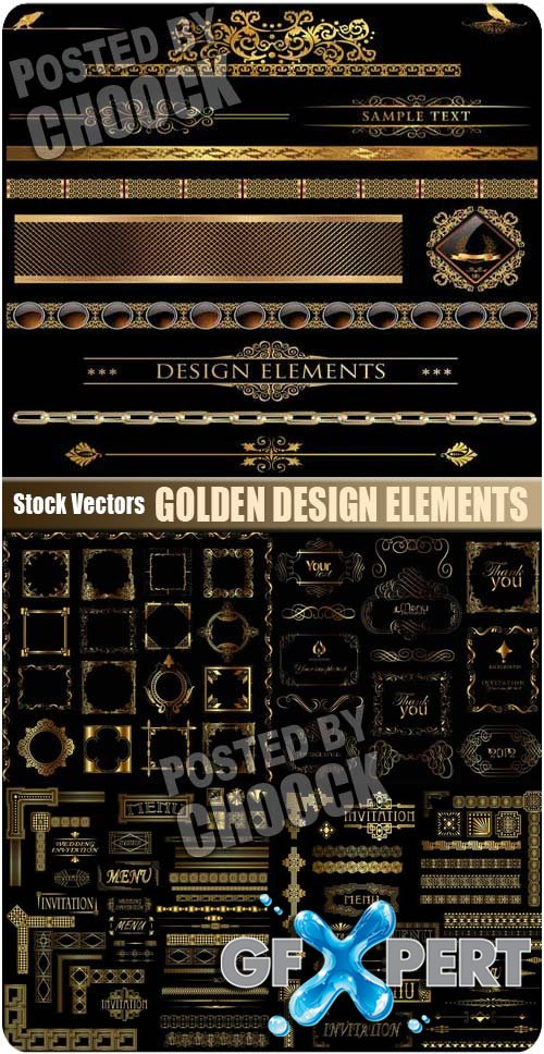 Golden design elements - Stock Vector