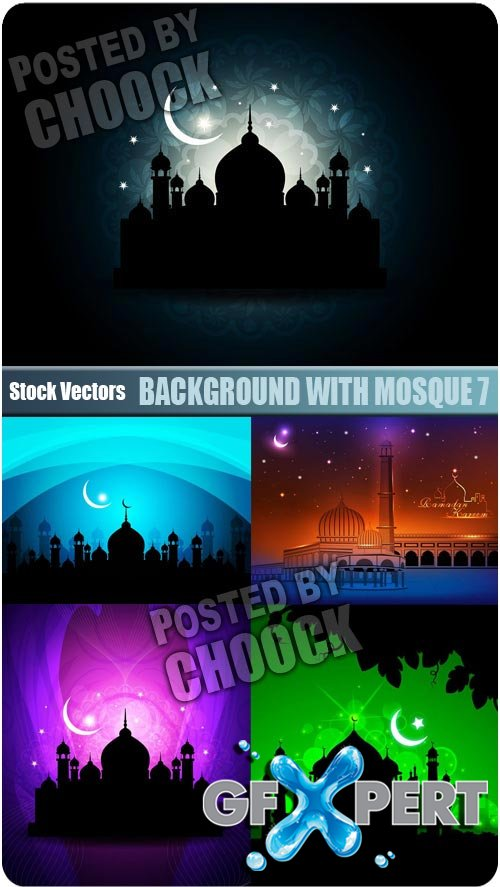 Background with mosque 7 - Stock Vector