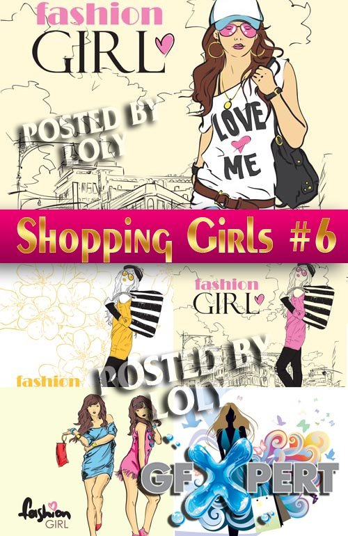 Shopping Girls #6 - Stock Vector