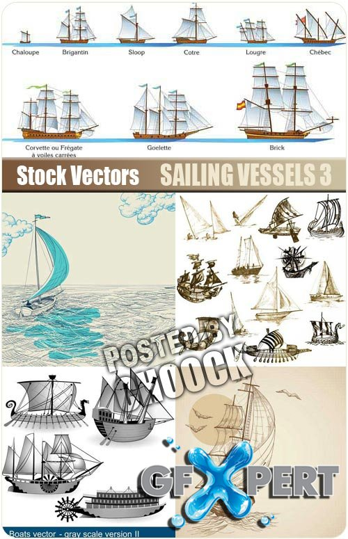 Sailing vessels 3 - Stock Vector