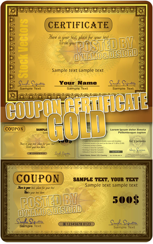 Coupon certificate gold - Stock Vectors