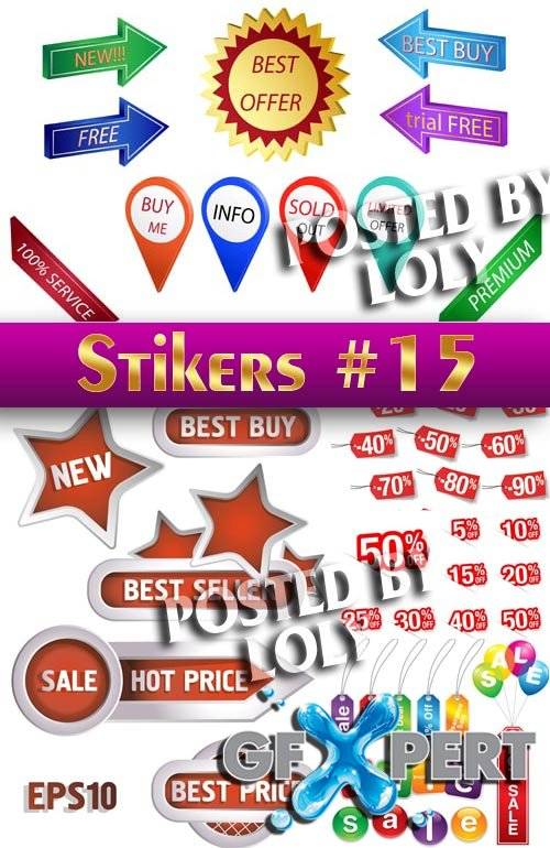 Stickers. SALE #15 - Stock Vector