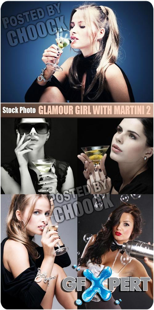 Glamour girl with martini 2 - Stock Photo