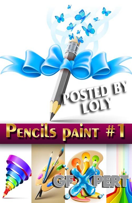 Pencils and Paint #1 - Stock Vector