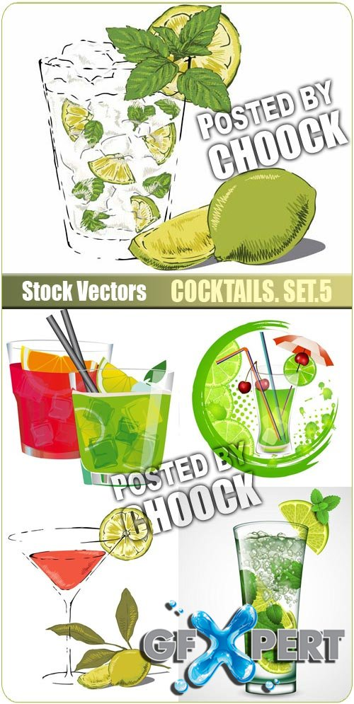 Cocktails. Set.5 - Stock Vector