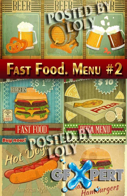 Fast Food. Menu #2 - Stock Vector