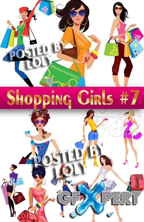Shopping Girls #7 - Stock Vector