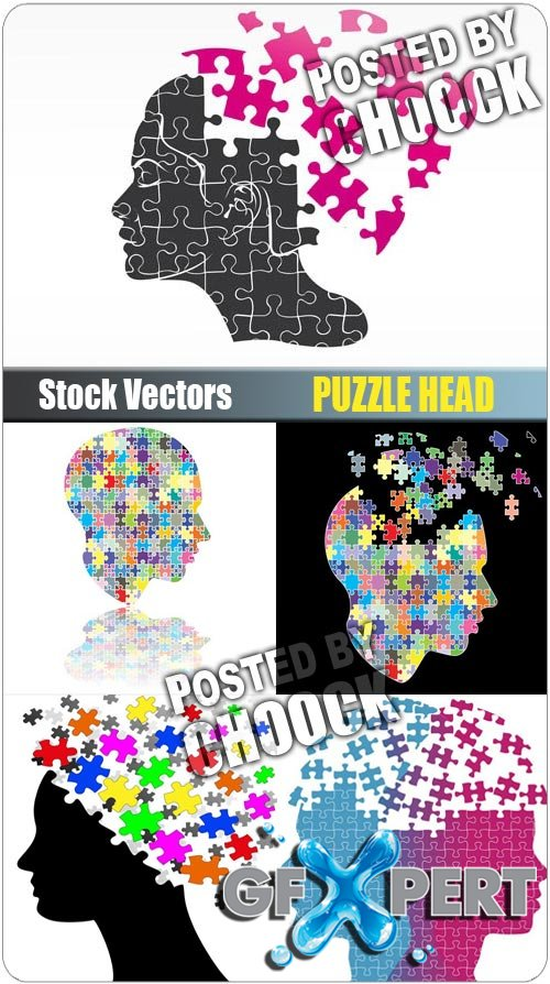 Puzzle head - Stock Vector