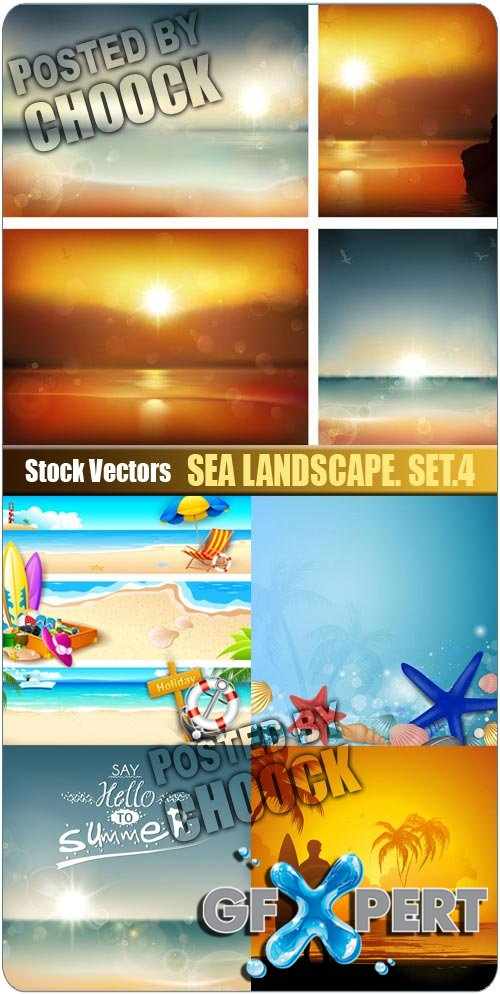 Sea landscape. Set.4 - Stock Vector