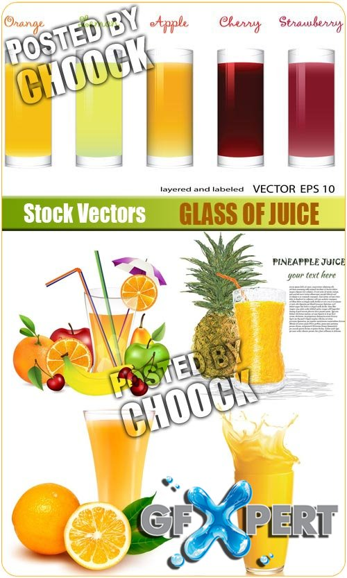 Glass of juice - Stock Vector