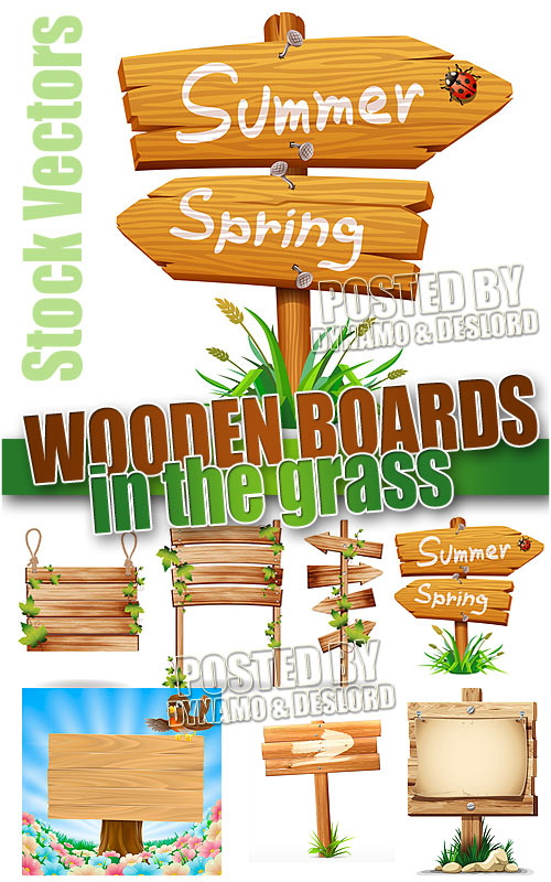 Wooden board in the grass - Stock Vectors