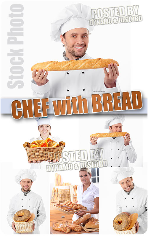 Chef with bread - UHQ Stock Photo