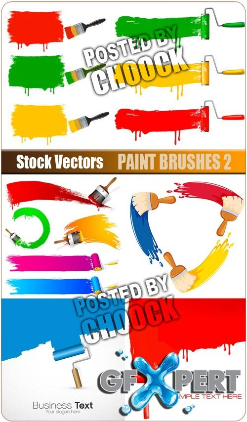 Paint brushes 2 - Stock Vector