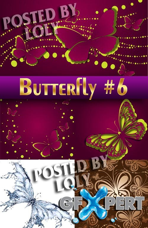 Beautiful butterfly #6 - Stock Vector