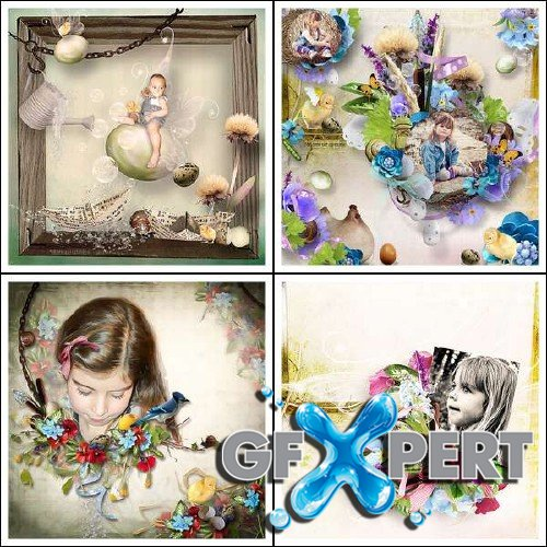 Digital scrapbooking set - Spring's Colors