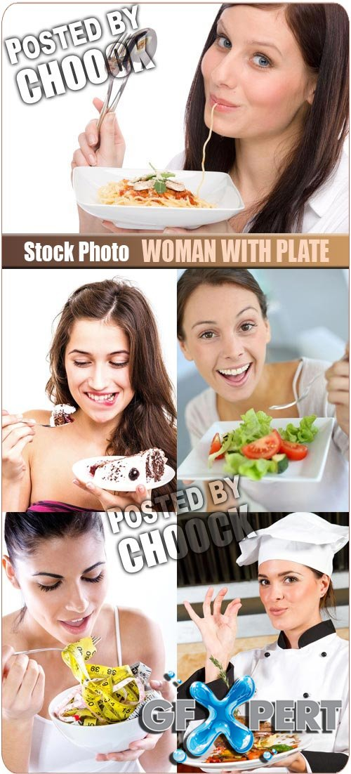Woman with plate - Stock Photo