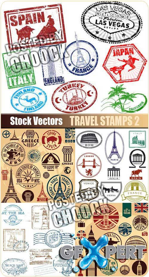 Travel stamps 2 - Stock Vector