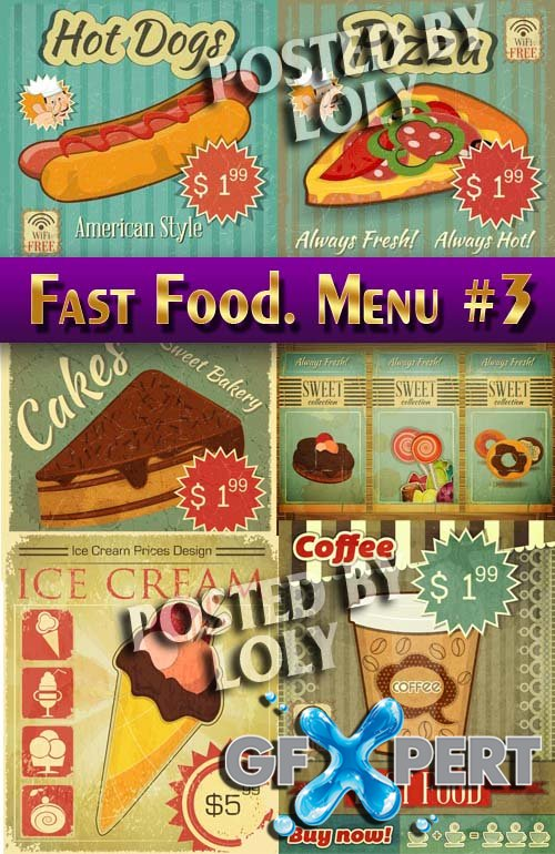 Fast Food. Menu #3 - Stock Vector